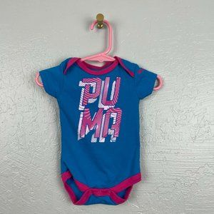Puma Size 0-3 Month One Piece Body Suit Blue Pink
